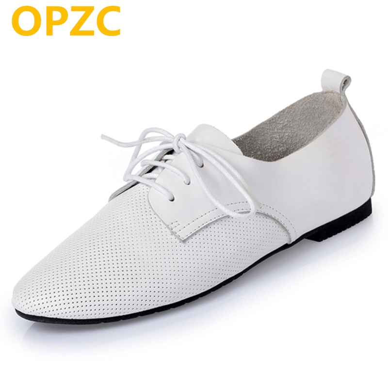 OPZC 2018 new spring and summer genuine leather women's flat shoes fashion comfortable casual mesh lace sneakers women women s shoes 2017 summer new fashion footwear women s air network flat shoes breathable comfortable casual shoes jdt103
