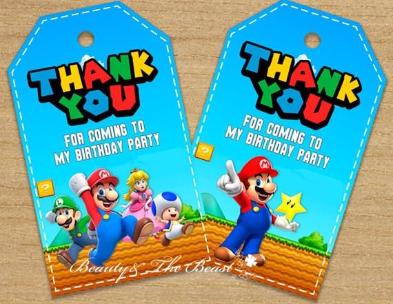 Super Mario Favor Tags Thank You Tags Super Mario Bros Gift