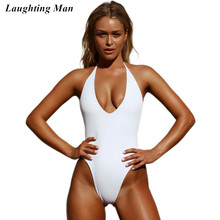 9568e8814ff Laughting Man Brand Women Swimsuit 2019 New One Piece Backless Swimwear  Female Bandage Bathing Suits Solid