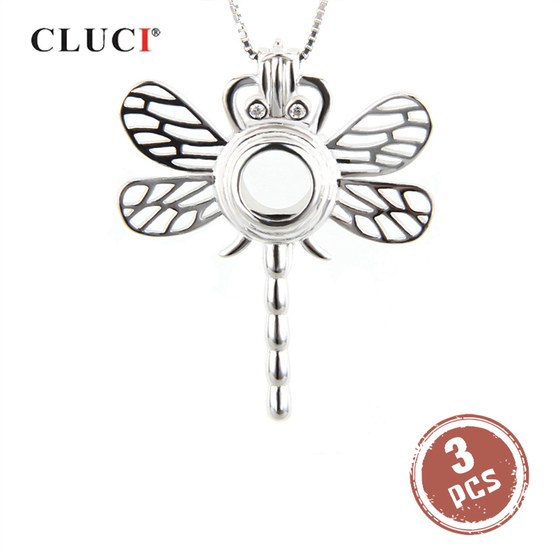 CLUCI 3pcs Lovely Dragonfly 925 Sterling Silver Pearl Locket Women Necklace Pendant Animal Cage Pendant