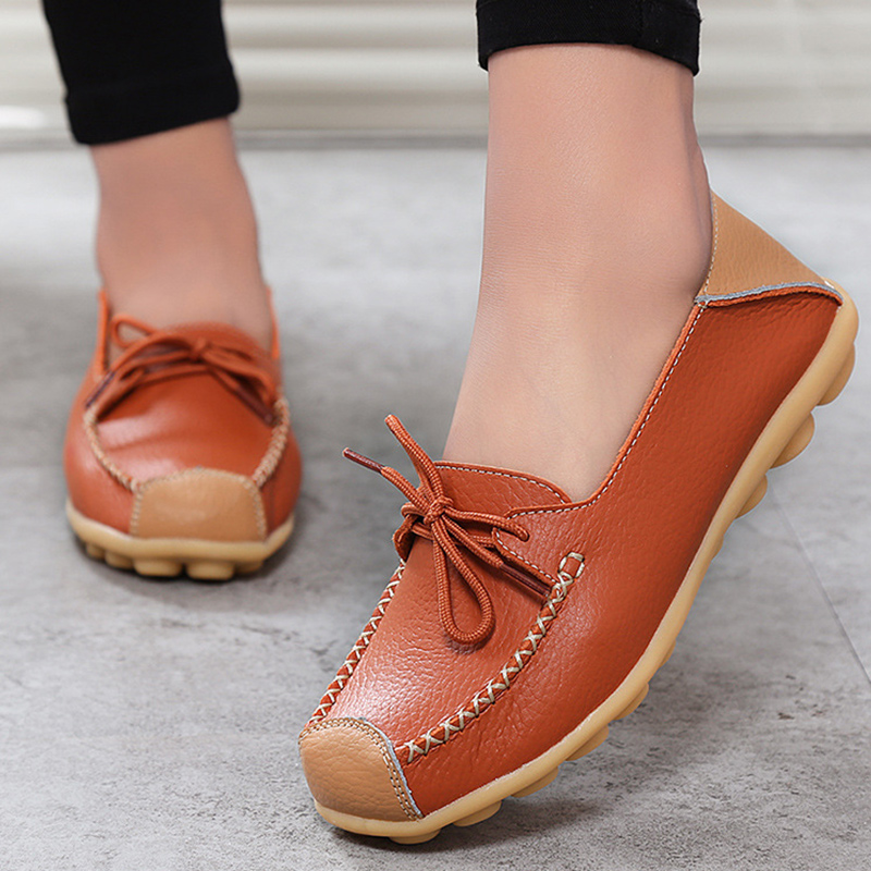 Big size flats genuine leather shoes women 2017 new style spring/autumn female shoes butterfly knot slip-on loafers shoes 35-44 new 2017 men s genuine leather casual shoes korean fashion style breathable male shoes men spring autumn slip on low top loafers
