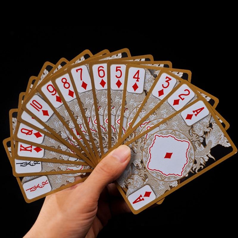 Водонепропусен прозрачен Пвц покер Голд Едге Играчка карта Драгон Цард Новост Висококвалитетна колекција Боард Гаме Гифт Дурабле