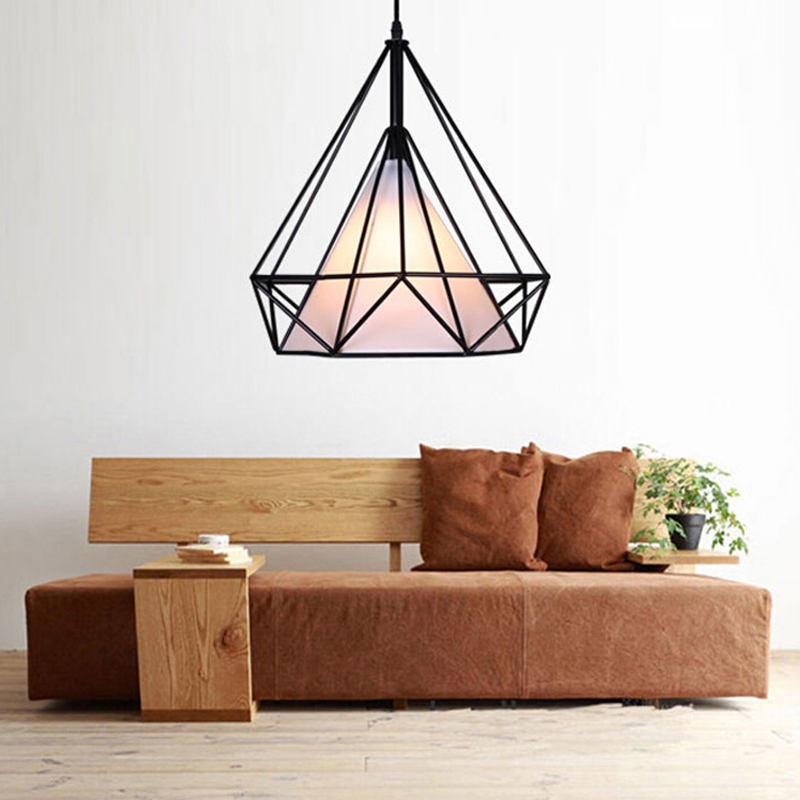 modern contemporary blackwhite pyramid birdcage pendant lights lamp iron minimalist loft led bedroom kitchen cheap contemporary lighting