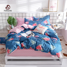 ParkShin Cartoon Flamingos Bedding Set Fitted Sheet Pink Elastic Underwear Double Bed Cover Rubber Sheet Home Textile Bedclothes недорого