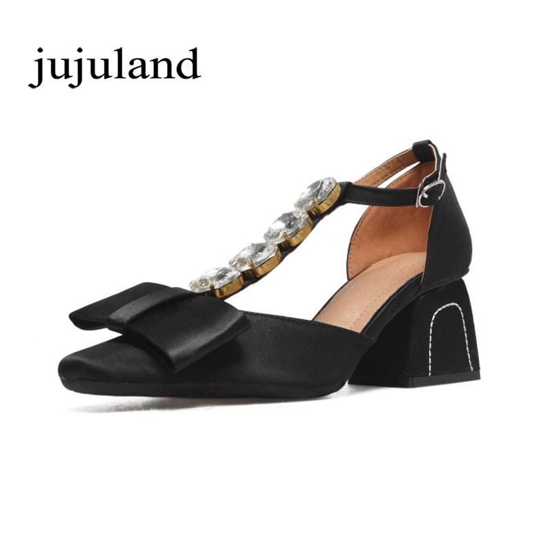все цены на Spring/Autumn Women Pumps Shoes Silk Crystal Butterfly-knot Buckle Strap Strange Style Heels Square Toe Casual Fashion Shallow