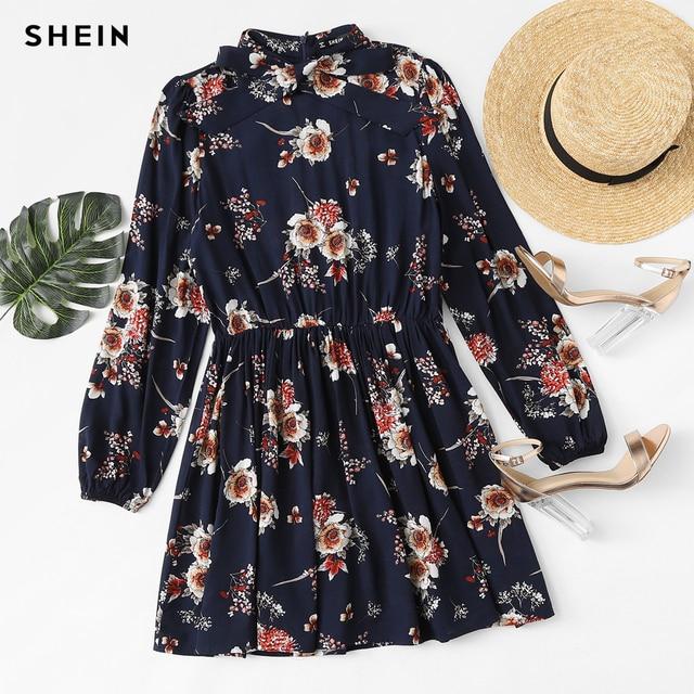 SHEIN Autumn Floral Women Dresses Multicolor Elegant Long Sleeve High Waist A Line Chic Dress Ladies Tie Neck Dress 3