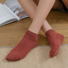 Leisure Fshion Cotton Vertical Striped Short Sock Shallow Mouth Breathable Comfortable Women Short Sock Hosiery(China)