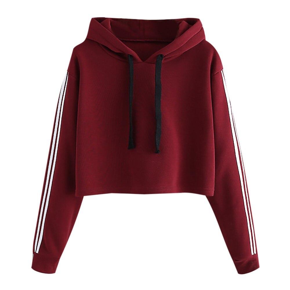 b9bfae5e5c7686 Crop Hoodies Womens Striped Long Sleeve Hoodie Sweatshirt Jumper Hooded  Pullover Tops Winter Sweatshirts Hoody Ladies