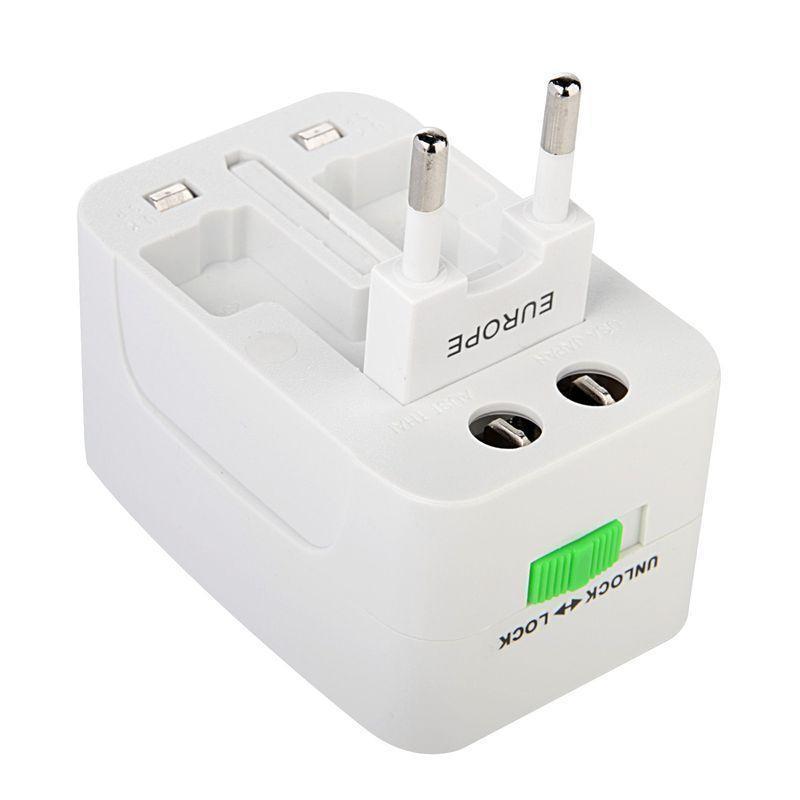 Adjustable Universal UK EU AU US Plug AC Power Adaptor Converter Sockets World Travel Durable White 7.5 * 5 * 4cm