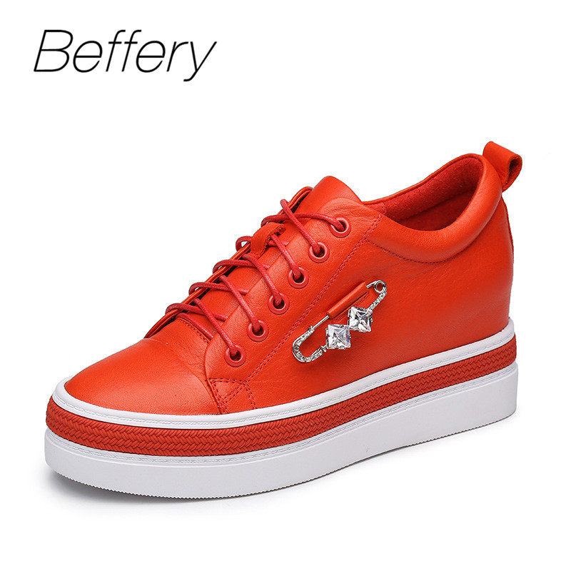 Beffery Spring Genuine Leather Women Casual Shoes Red/White Platform Wedge High heels Fashion Rhinestone Shoes Women Sneakers