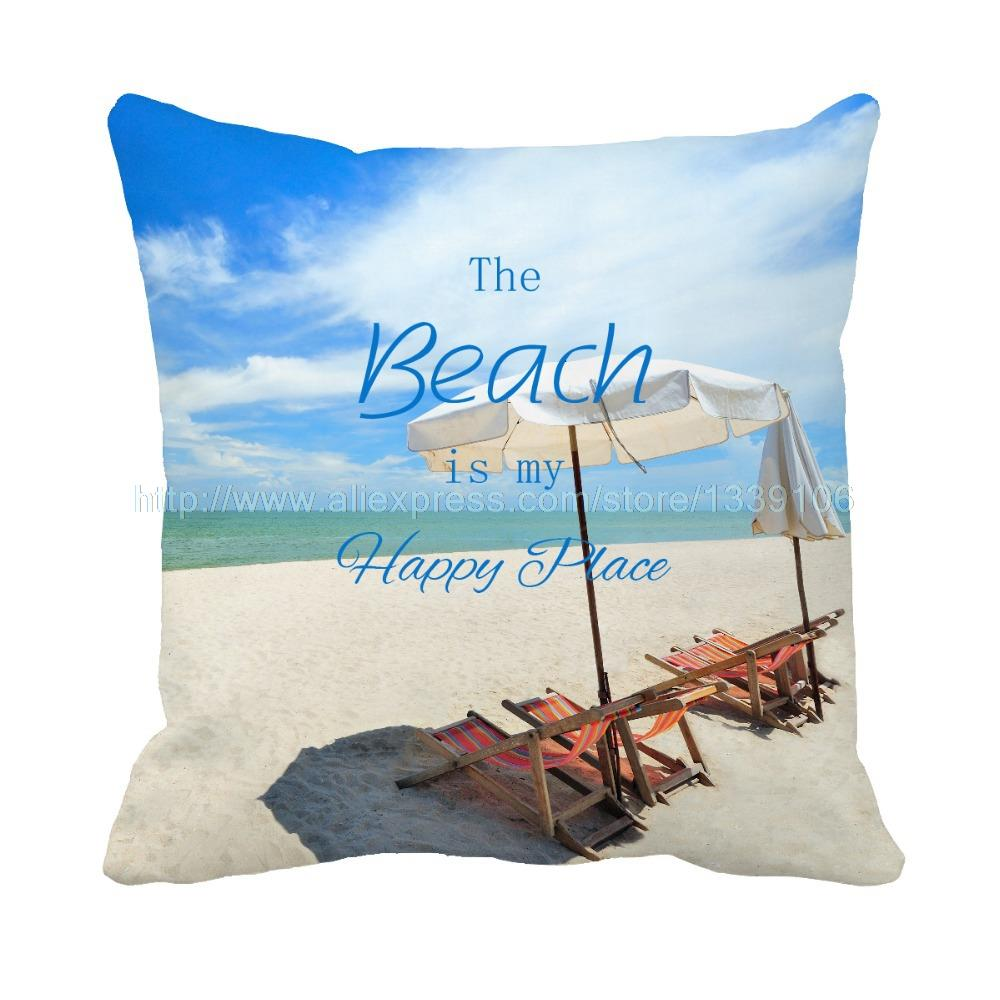 Beach Vacation Blue Sky Print Custom Accent Cushions For Sofa Chair Car Home Decor Throw Pillow Cojines Decorative Pillows