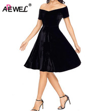 ADEWEL Elegant Retro Velvet A line Pleated Women Dress Vintage Short Flare Off Shoulder Sexy Party Vestidos De Renda
