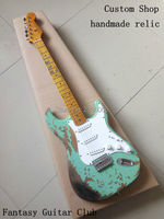 Custom Shop Surf green 100% handmade Relic ST electric guitar alder body Aged hardware professional relic guitars