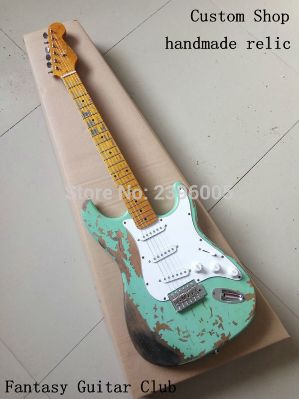 Custom Shop Surf green 100% handmade Relic ST electric guitar alder body Aged hardware professional relic guitars  недорого