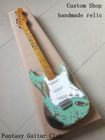 Custom shop surf green 100% handgemaakte relic st elektrische gitaar alder body aged hardware professionele relic guitars
