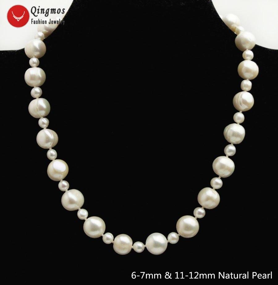 Qingmos collier de perles blanches naturelles pour femmes avec 6-7mm & 11-12mm collier de perles d'eau douce rondes collier bijoux 17