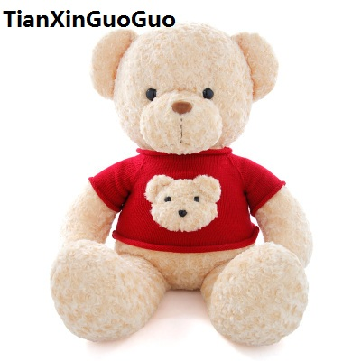 new arrival Teddy bear dressed red sweater,about 60cm bear plush toy soft throw pillow birthday gift b2977 new creative plush bear toy cute lying bow teddy bear doll gift about 50cm