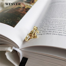 WFSVER women romantic 925 sterling silver fashion ring gold color Rose shape wedding rings opening adjustable fine jewelry gift
