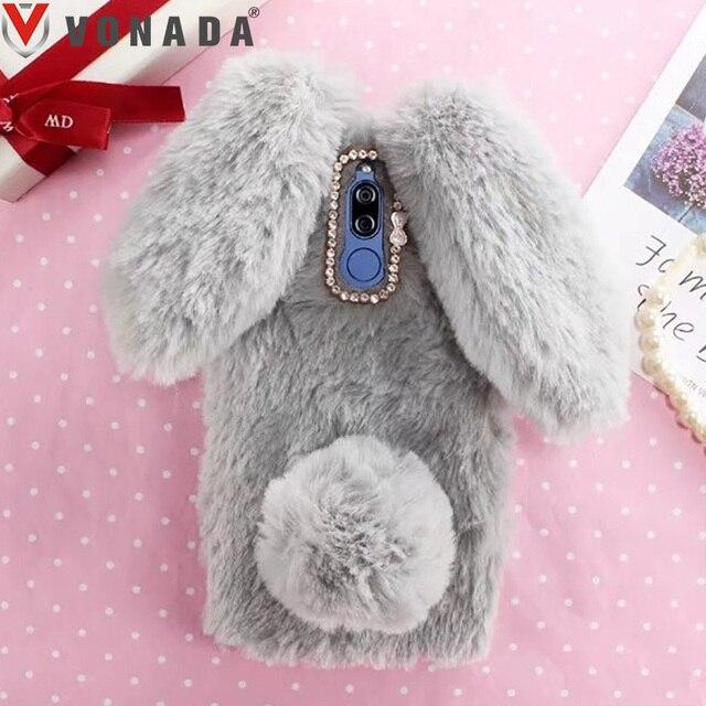 US $8 67 15% OFF|Vonada Plush Case for Infinix Hot 5 X559C Hot 4 X557 Hot 3  X554 Soft Fur Cute 3D Bunny Rabbit Ears Cover TPU Diamond Case Cover-in