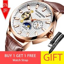 8fc8682c7020 Reloj de negocios GUANQIN 2018 reloj luminoso automático para hombre reloj  mecánico a prueba de agua Tourbillon