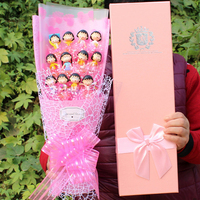 BOLAFYNIA doraemon cartoon Flower toy bouquet for birthday valentine gift toy 12 quality small pendant