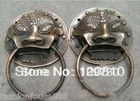 0092 Oriental Bronze A Pair old Lucky statue foo dog lion Fengshui door knocker