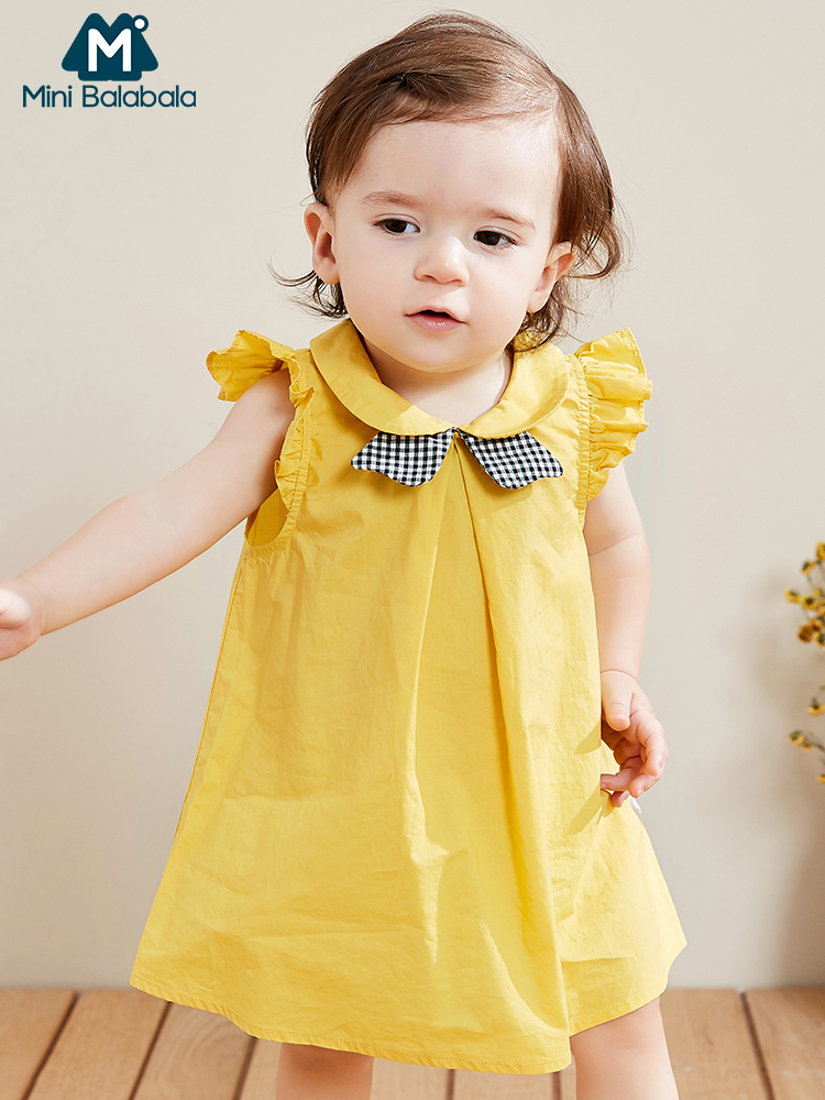 Mini BalabalaBaby Girl Dress 2019 Summer New College Style Cotton Sleeveless Loose Newborn Lovely Dresses Clothes Children