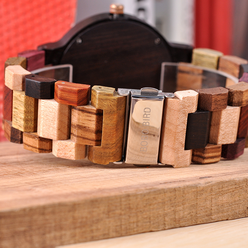 Image 3 - BOBO BIRD Relogio Masculino Wooden Watch Men Luxury Date Display Wood Japanese Quartz Watches Mens Great Gift erkek kol saatiQuartz Watches   -