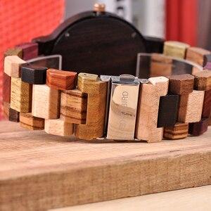 Image 4 - Reloj masculino BOBO BIRD hechos en madera, reloj de lujo con indicador de fecha hecho en madera, relojes de cuarzo, relojes de pulsera, excelente regalo para hombres W Q13