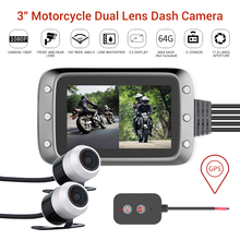 Motorcycle GPS DVR Dash Cam Full HD 1080P + 720P Front & Rear View Waterproof Motorcycle Camera Built-in G-sensor Dashcam цена