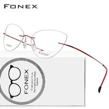 FONEX Titanium Alloy Rimless Glasses Frame Women Ultralight Eyeglasses Prescription Frameless Cat Eye Myopia Optical Frame 10001