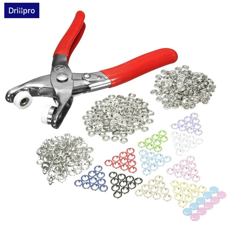 Drillpro Fasterner Snap Zange Handwerk Werkzeug Werkzeuge 110 Sets Multicolor Druckknöpfen Poppers Silber Tasten Nähen Handwerk Snap 9,5mm Spezieller Kauf