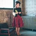 Буэнос-Ниньо vintage красный с черным плед юбки 2-15 лет девушки хлопка юбки 40