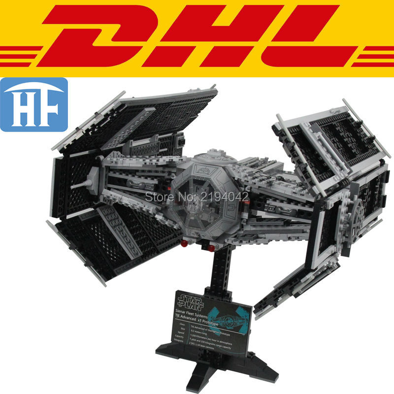 ФОТО 2017 New 1242Pcs Star Wars Vader's TIE Advanced Fighters Model Building Kit Blocks Bricks Toy For Children Compatible Gift 10175