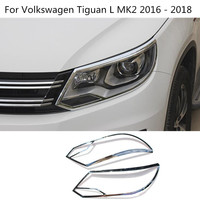 Car Cover Styling Detector ABS Chrome Front Light Lamp Trim Frame 2pcs For Volkswagen VW Tiguan