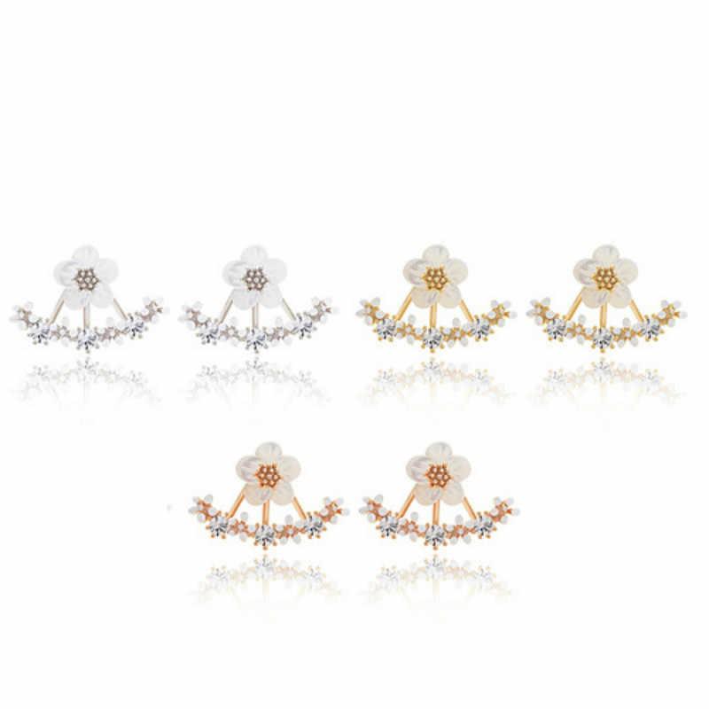 1 Chiếc Bán Phía Sau Tai Cánh Cao Cấp Đôi Khuyên Tai Vòng Cho Nữ Tròn Cubic Zircon Charm Hoa Bông Tai Nữ Trang Sức