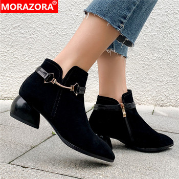 MORAZORA 2020 full cow leather ankle boots for women suede Metal decoration autumn boots pointed toe black women boots