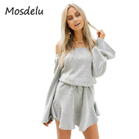 Mosdelu Knitted Sweater Dress 2017 Autumn Bodycon Dress Long Sleeve Off The Shoulder Dresses Women Casual
