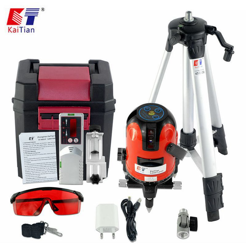 KaiTian Laser Level Receiver 3 Lines Self-Leveling 360 Rotary Horizontal 635nm Vertical Livello Laser Tripod Line Levels Tools цена