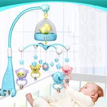 Musical Crib Bed Bell Toys Plastic Hanging Rattles Night Light High-end Mobile Baby for 0-12