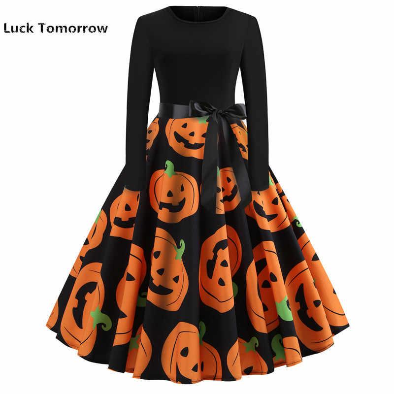 Dia das bruxas Mulheres Cópia Do Crânio Patchwork Midi Vestido Preto Outono Inverno Do Vintage Vestidos de Manga Longa Elegante Vestido de Festa Plus Size