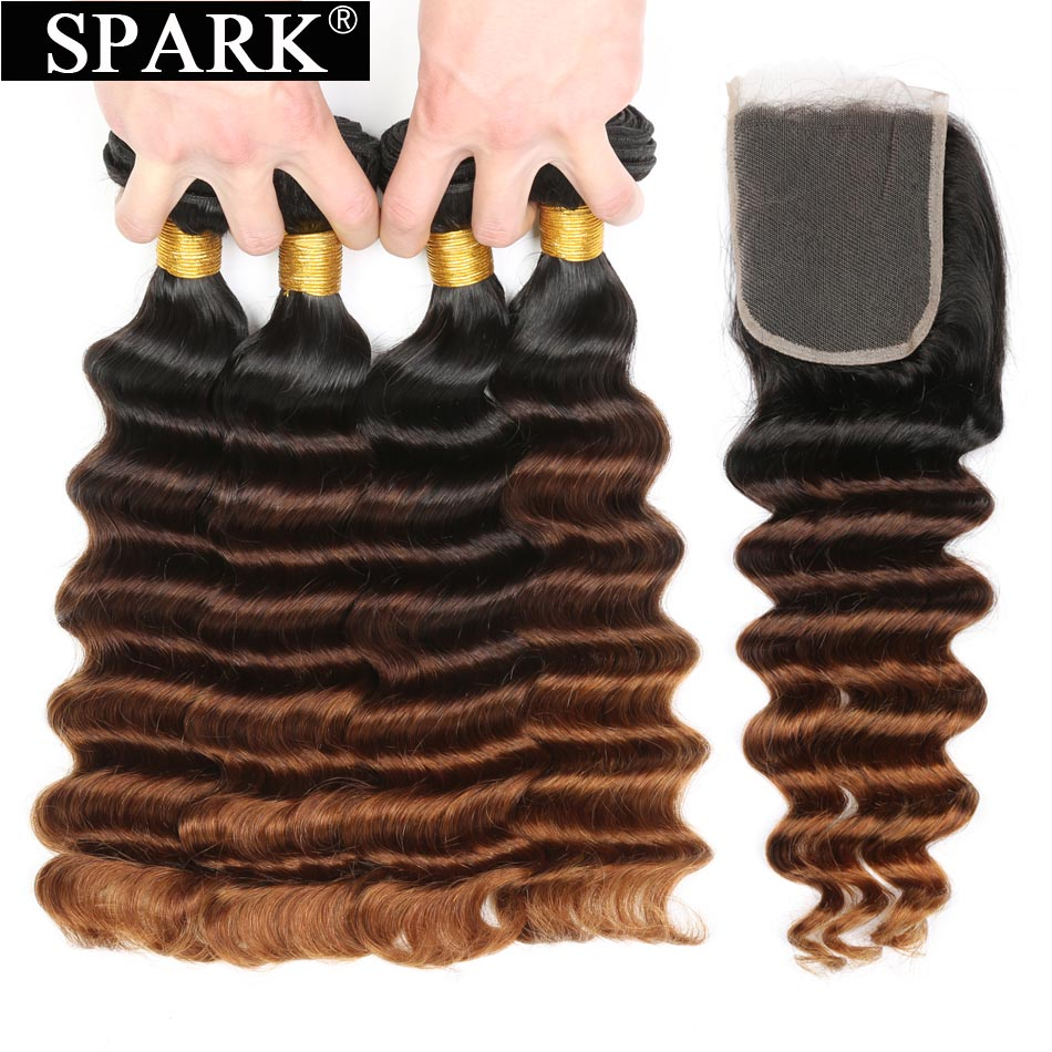 Spark Loose Deep Wave Bundles With Closure Ombre Malaysia Remy Human Hair Extension 3 4 Bundles
