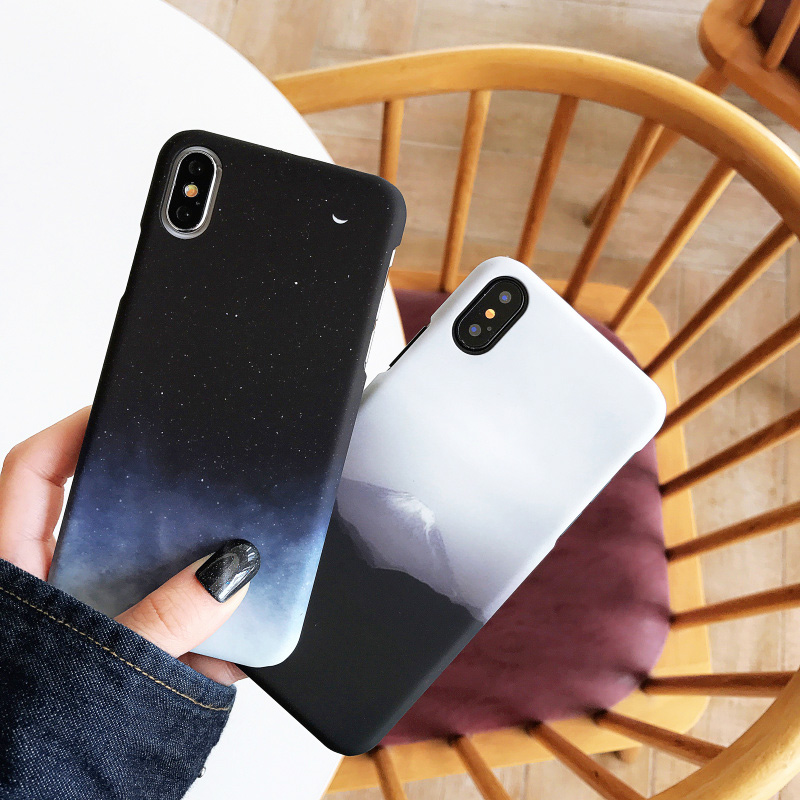 KIPX1065_1_JONSNOW PC Hard Case For iPhone XS XR XS Max Cases Starry Sky Mountain View Pattern Phone Cover for iPhone 6 6S 7 8 Plus Capa Fundas