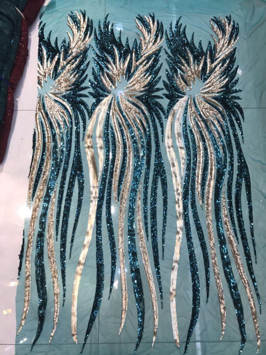 Ev ve Bahçe'ten Dantel'de Sequins Tasarım 2018 Fransız Afrika Örgü Dantel Kumaş Yüksek Kaliteli Payetli Nijerya Nakış Net Düğün Dantel Gelin Elbiseler Için'da  Grup 1