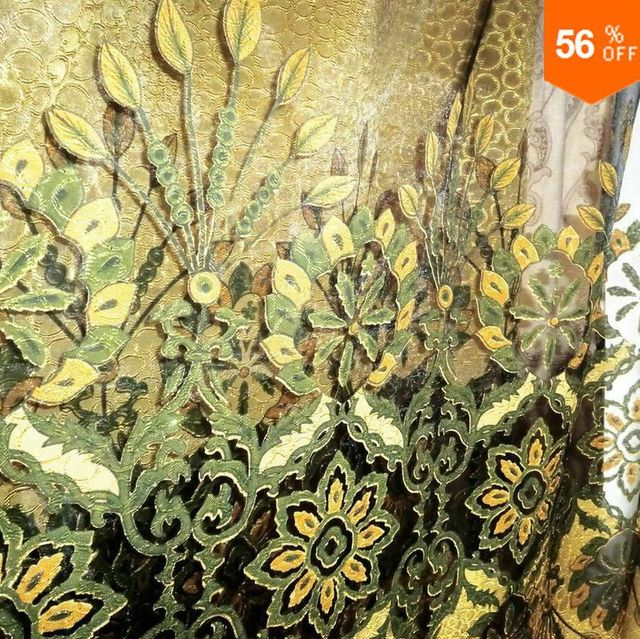 Quality finished curtain voile princess tulle sheet lace green hall curtain lace luxury Organza curtain finished product peacock