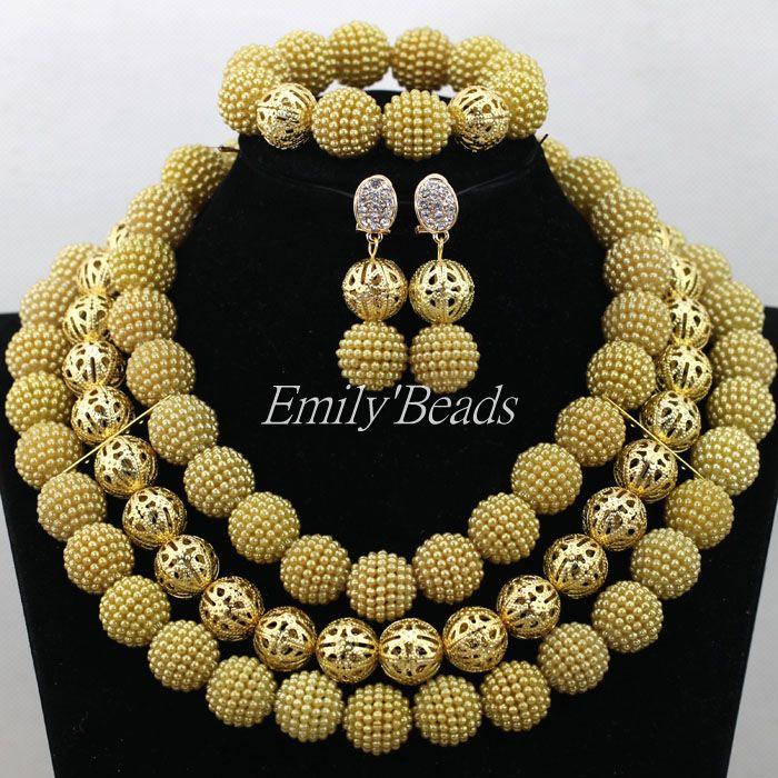 de lujo de oro Dubai africana joyería joyería nupcial africana Beads bolas joye