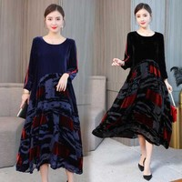 Spring 2019 NEW Chinese Troditional Gown Long Sleeve Velvet Color Patches Elegant Leisure Dress plus size