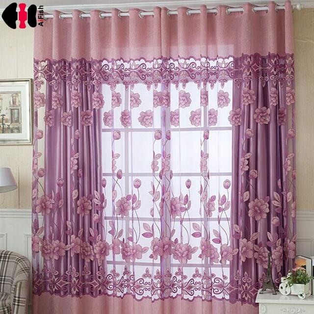 bloemenprint gordijnen designer slaapkamer grijze gordijnen decoratie kids paars gordijnen woonkamer organza gordijnen wp087b
