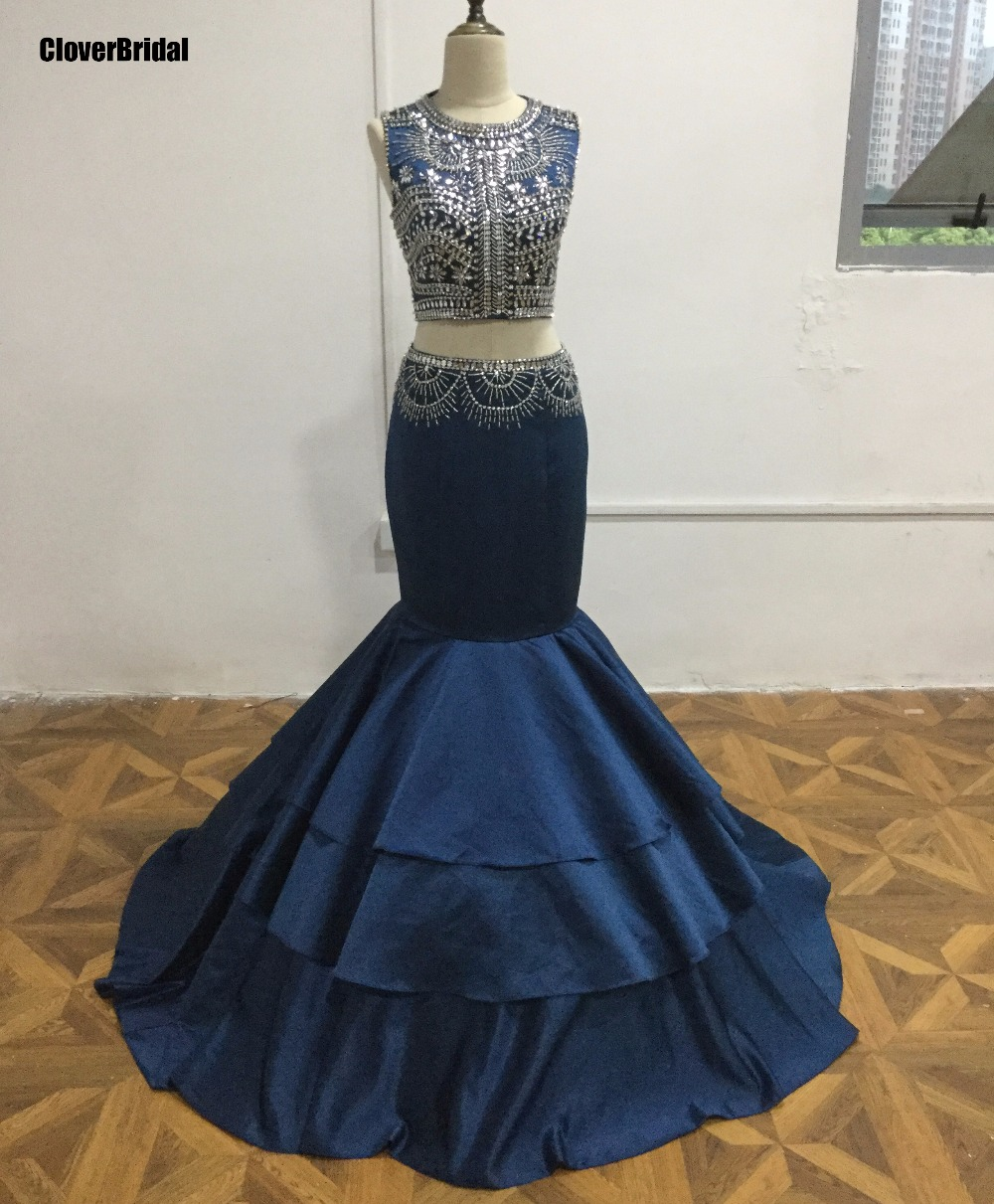 Bling bling beading crystal stones acrylic stones navy blue 2 piece   prom     dresses   mermaid 2017 free customize evening   dress