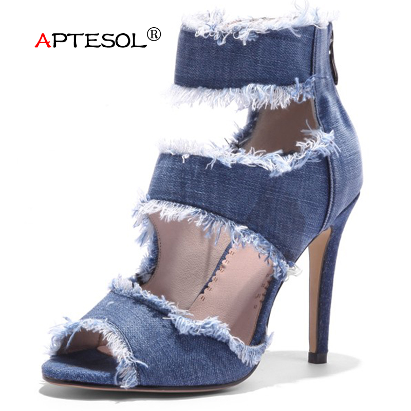 APTESOL Women's Fashion 9.5 cm Super High Heels Pumps Summer Thin Heels Denim Casual Women Shoes Party Wedding Lady Sexy Shoes big size 40 41 42 women pumps 11 cm thin heels fashion beautiful pointy toe spell color sexy shoes discount sale free shipping